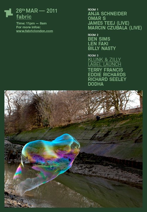 Richard Seeley at fabric 26th March. Klunk+Zilly Label launch in Room 3