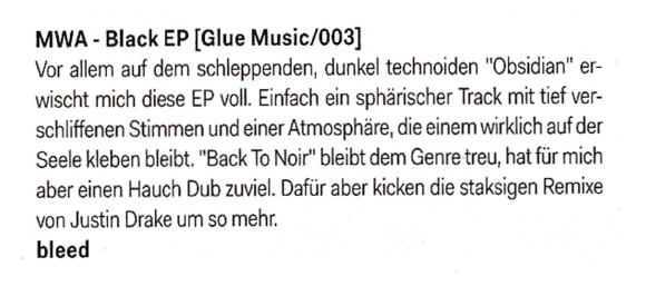 De:Bug Magazine , January 2012 - Single Review