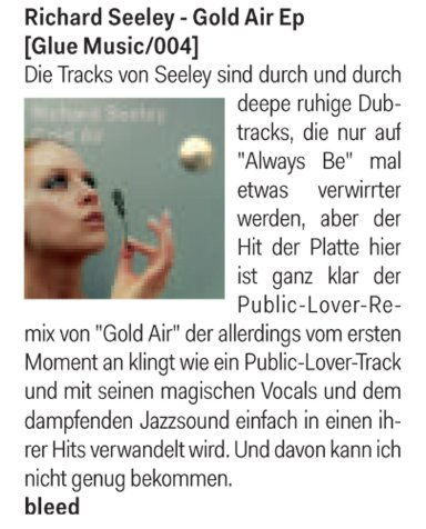 De:Bug review Richard Seeley's Gold Air EP
